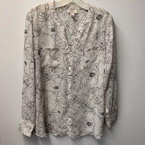 LOFT semi sheer v-neck 2 pocket long sleeve blouse